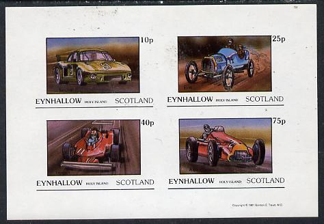Eynhallow 1981 Racing Cars (Porche, Fiat, Ferrari & Alfa) imperf  set of 4 values (10p to 75p) unmounted mint