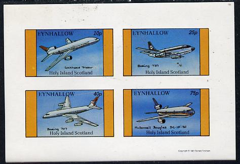 Eynhallow 1981 Airliners #2 imperf  set of 4 values (10p to 75p) unmounted mint