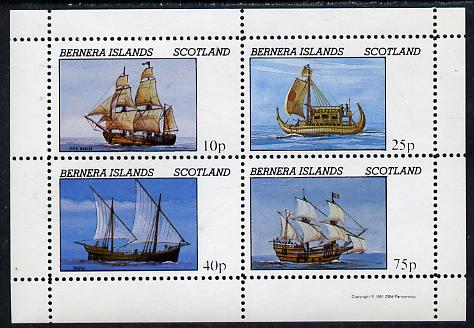 Bernera 1981 Early Sailing Ships (HMS Beagle, Dhow, etc) perf  set of 4 values (10p to 75p) unmounted mint