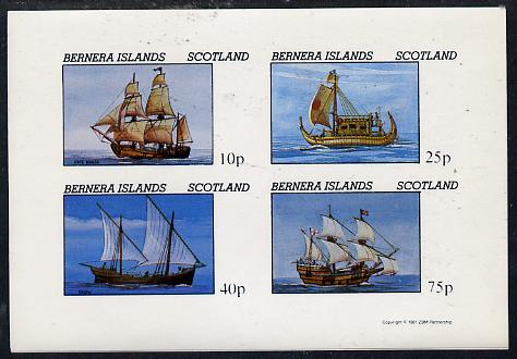 Bernera 1981 Early Sailing Ships (HMS Beagle, Dhow, etc) imperf  set of 4 values (10p to 75p) unmounted mint