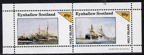 Eynhallow 1981 Warships #1 perf  set of 2 values (40p & 60p) unmounted mint