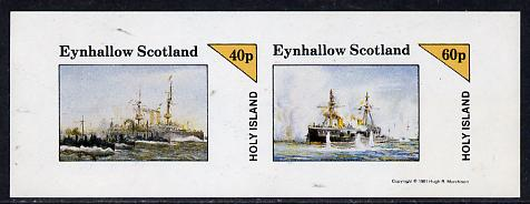 Eynhallow 1981 Warships #1 imperf  set of 2 values (40p & 60p) unmounted mint