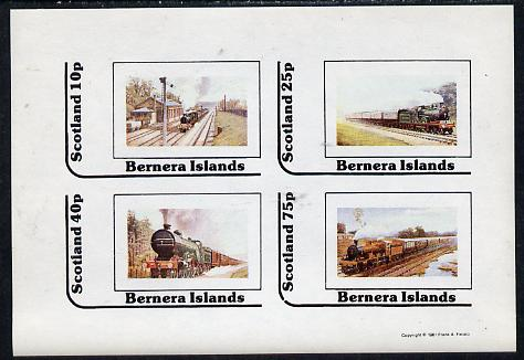 Bernera 1981 Steam Locos #03 imperf  set of 4 values (10p to 75p) unmounted mint