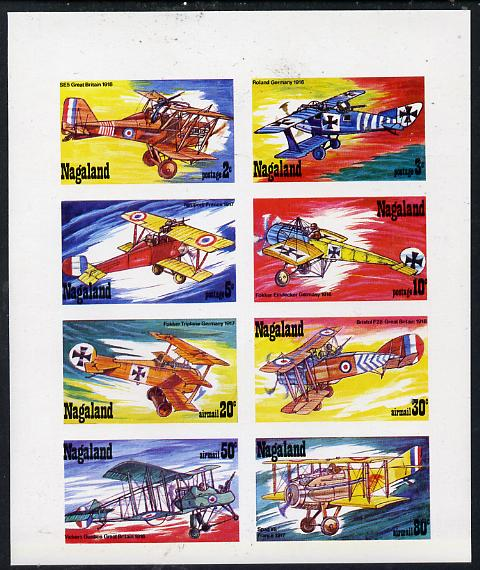 Nagaland 1978 WWI Aircraft imperf  set of 8 values (2c to 80c) unmounted mint