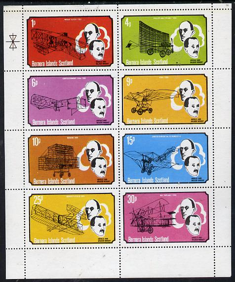 Bernera 1979 Flight Anniversary of Wright Brothers perf  set of 8 values (1p to 30p) unmounted mint