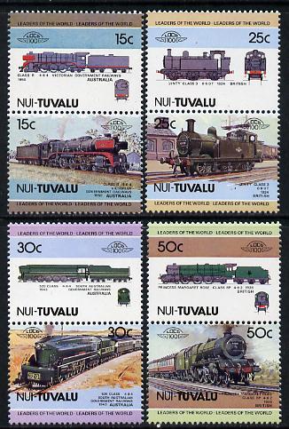 Tuvalu - Nui 1984 Locomotives #1 (Leaders of the World) set of 8 unmounted mint