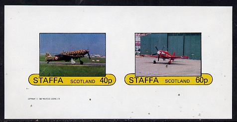 Staffa 1982 WW2 Aircraft #4 imperf  set of 2 values unmounted mint