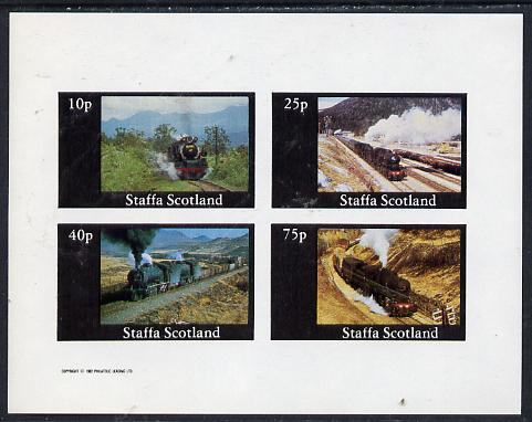 Staffa 1982 Steam Locos #03 imperf  set of 4 values (10p to 75p) unmounted mint