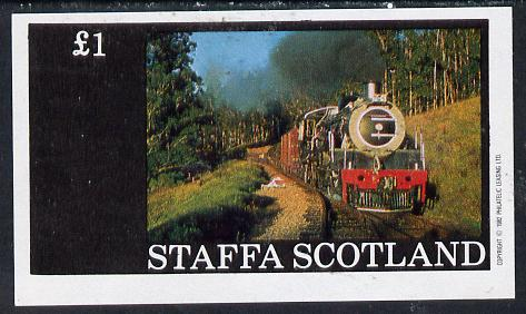 Staffa 1982 Steam Locos #03 imperf souvenir sheet (�1 value) unmounted mint