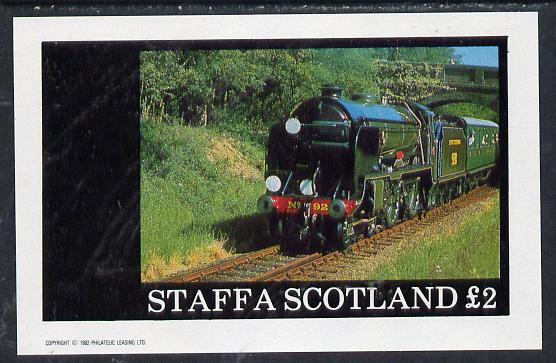 Staffa 1982 Steam Locos #03 imperf deluxe sheet (�2 value) unmounted mint