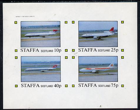 Staffa 1982 Airliners #2 imperf  set of 4 values (10p to 75p) unmounted mint