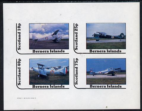 Bernera 1982 Bi-planes #1 imperf  set of 4 values (10p to 75p) unmounted mint