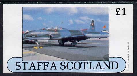 Staffa 1982 Military Jets #4 imperf souvenir sheet (�1 value)  unmounted mint