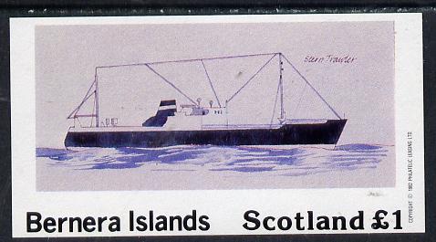 Bernera 1982 Ships #2 (Stern Trawler) imperf souvenir sheet (�1 value) unmounted mint