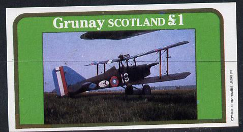 Grunay 1982 Bi-planes #1 imperf souvenir sheet (�1 value) unmounted mint
