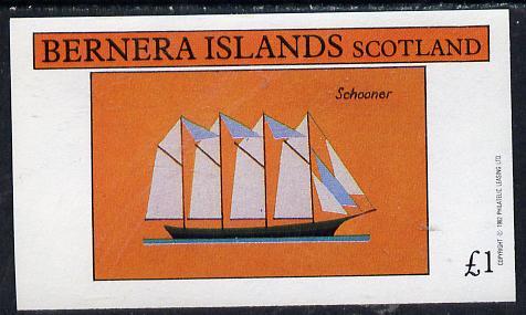 Bernera 1982 Ships #1 (Schooner) imperf souvenir sheet (�1 value) unmounted mint