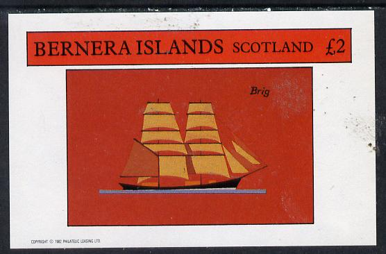 Bernera 1982 Ships #1 (Brig) imperf deluxe sheet (�2 value) unmounted mint