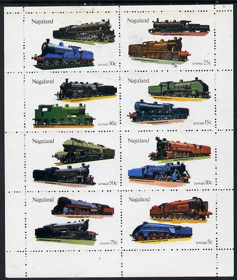 Nagaland 1974 Locomotives perf  set of 8 values (5c to 75c) unmounted mint