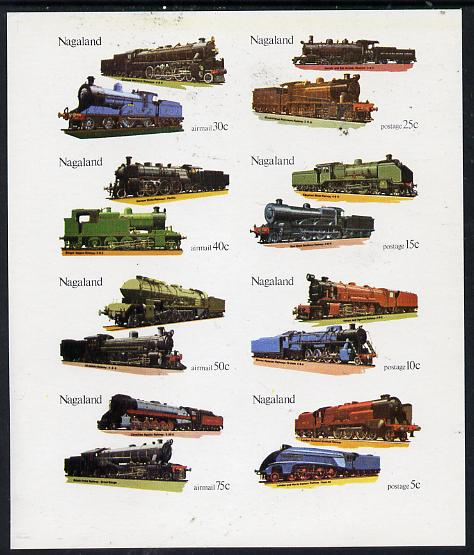 Nagaland 1974 Locomotives imperf  set of 8 values (5c to 75c) unmounted mint