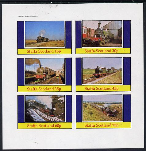 Staffa 1982 Steam Locos #10 imperf set of 6 values (15p to 75p) unmounted mint