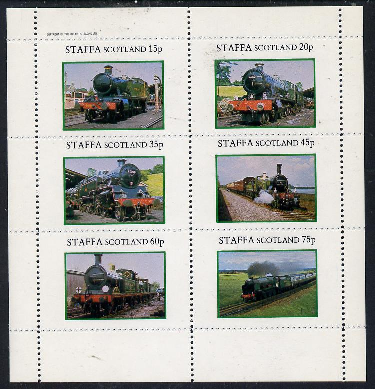 Staffa 1982 Steam Locos #08 perf set of 6 values (15p to 75p) unmounted mint