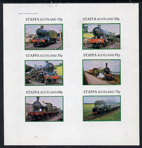 Staffa 1982 Steam Locos #08 imperf set of 6 values (15p to 75p) unmounted mint