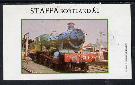 Staffa 1982 Steam Locos #08 imperf souvenir sheet (�1 value) unmounted mint