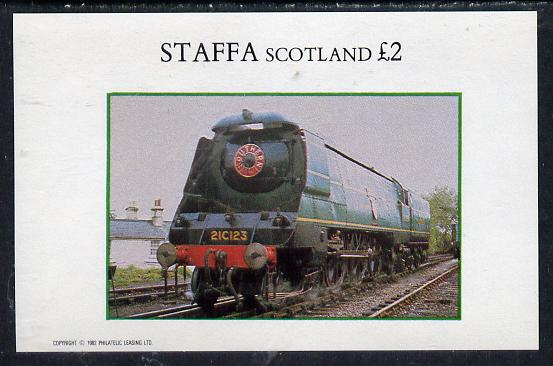 Staffa 1982 steam Locos #08 imperf deluxe sheet (�2 value) unmounted mint