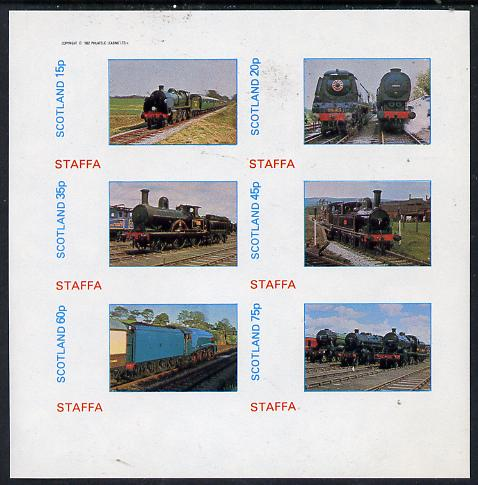 Staffa 1982 Steam Locos #11 imperf set of 6 values (15p to 75p) unmounted mint
