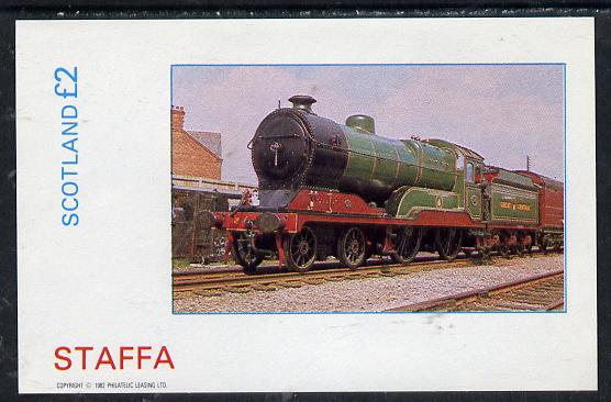 Staffa 1982 Steam Locos #11 imperf deluxe sheet (�2 value) unmounted mint