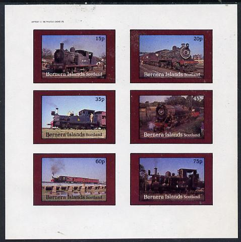 Bernera 1982 Steam Locos #10 (Indian) imperf set of 6 values (15p to 75p) unmounted mint