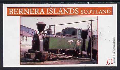 Bernera 1982 Steam Locos #11 (Java Sugar Cane Loco) imperf souvenir sheet (�1 value) unmounted mint