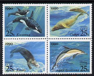 Russia 1990 Marine Mammals se-tenant set of 4 unmounted mint, SG 6187-90, Mi 6130-33