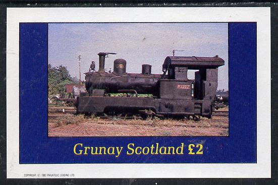 Grunay 1982 Steam Locos #02 (Java Sugar Cane Loco) imperf deluxe sheet (�2 value) unmounted mint