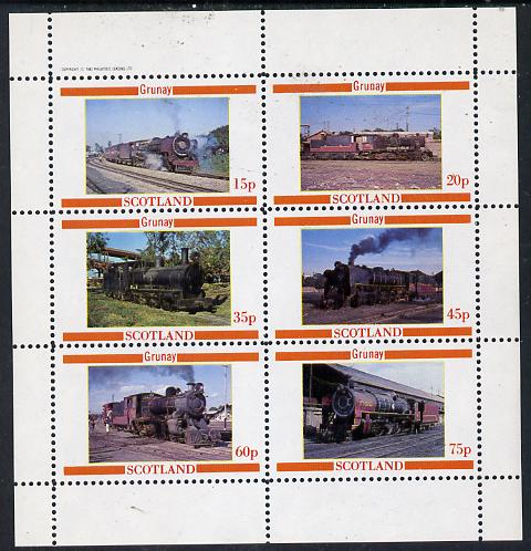 Grunay 1982 Steam Locos #04 (Indian) perf set of 6 values (15p to 75p) unmounted mint
