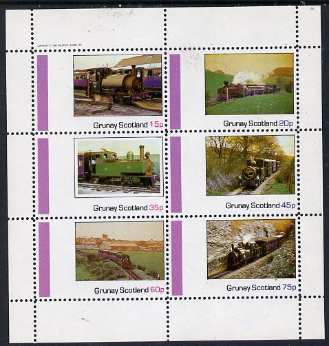 Grunay 1982 Steam Locos #06 (North Wales Narrow Gauge) perf set of 6 values (15p to 75p) unmounted mint