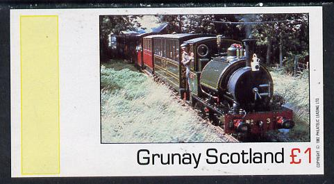 Grunay 1982 Steam Locos #06 imperf souvenir sheet (�1 value) unmounted mint