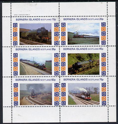 Bernera 1982 Steam Locos #13 perf set of 6 values (15p to 75p) unmounted mint
