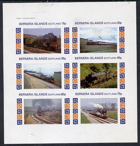 Bernera 1982 Steam Locos #13 imperf set of 6 values (15p to 75p) unmounted mint