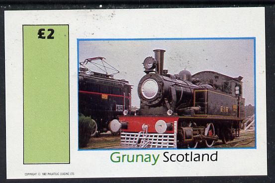 Grunay 1982 Steam Locos #10 imperf deluxe sheet (�2 value)  unmounted mint