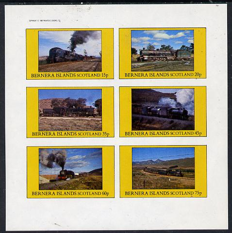 Bernera 1982 Steam Locos #14 (South African) imperf set of 6 values (15p to 75p) unmounted mint