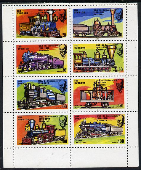 Iso - Sweden 1976 Locomotives (USA Bicentenary) perf  set of 8 values (20 to 400) unmounted mint