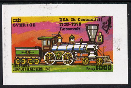 Iso - Sweden 1976 Locomotives (USA Bicentenary) imperf souvenir sheet (1,000 value) unmounted mint