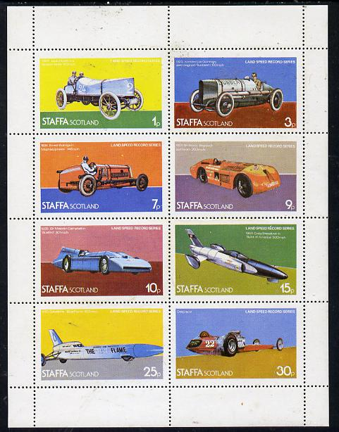 Staffa 1977 Land Speed Records perf  set of 8 values (1p to 30p) unmounted mint