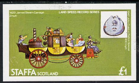 Staffa 1977 Land Speed Records (James's Steam Carriage) imperf souvenir sheet (�1 value) unmounted mint
