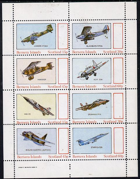 Bernera 1982 Aircraft #14 perf  set of 8 values (15p to 60p) unmounted mint