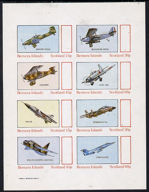 Bernera 1982 Aircraft #14 imperf  set of 8 values (15p to 60p) unmounted mint