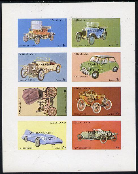Nagaland 1972 Cars #2 (opt'd Transport Day 1973) imperf  set of 8 values (1c to 50c) unmounted mint
