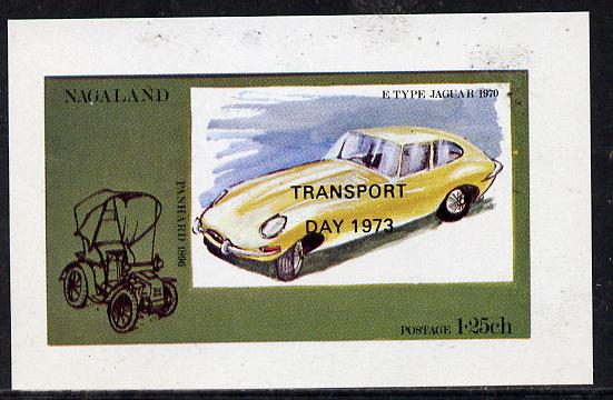 Nagaland 1972 Cars #2 (opt'd Transport Day 1973) imperf souvenir sheet (E-Type Jaguar 1.25ch value) unmounted mint