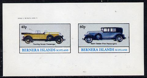 Bernera 1982 Cars imperf  set of 2 values (40p & 60p) unmounted mint